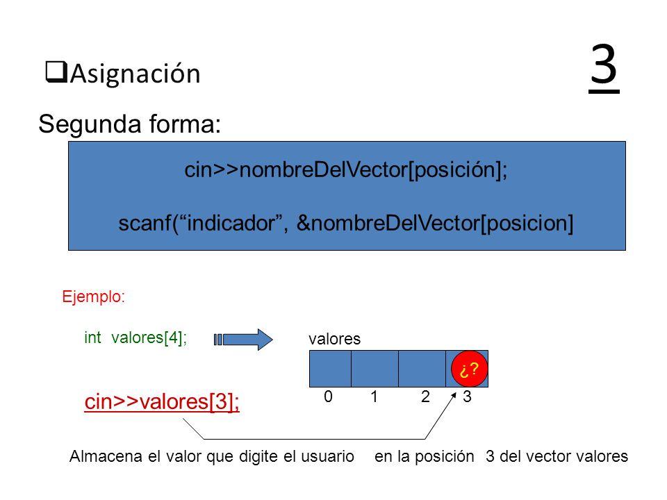 3 Asignación Segunda forma: cin>>nombreDelVector[posición];